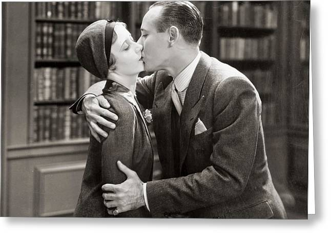 Aodng Greeting Cards - Silent Film Still: Kissing Greeting Card by Granger