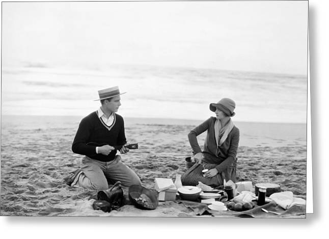 Ukelele Greeting Cards - Silent Film Still: Picnic Greeting Card by Granger