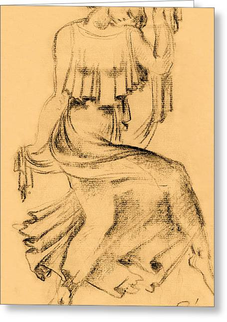 Grungy Drawings Greeting Cards - Sitting woman charcoal drawing Greeting Card by Odon Czintos