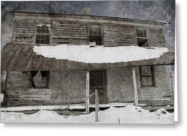 Winter Scenes Rural Scenes Greeting Cards - Snowy Abandoned Homestead Porch Greeting Card by John Stephens