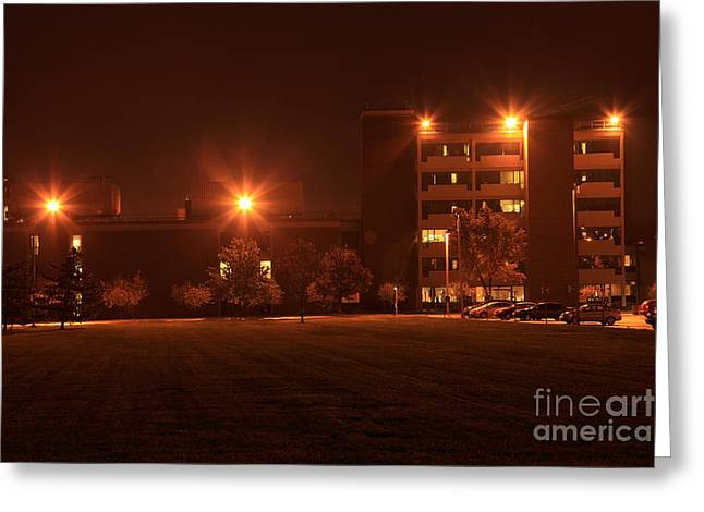 Element Of Light Greeting Cards - Sodium Vapor Lights On College Campus Greeting Card by Ted Kinsman