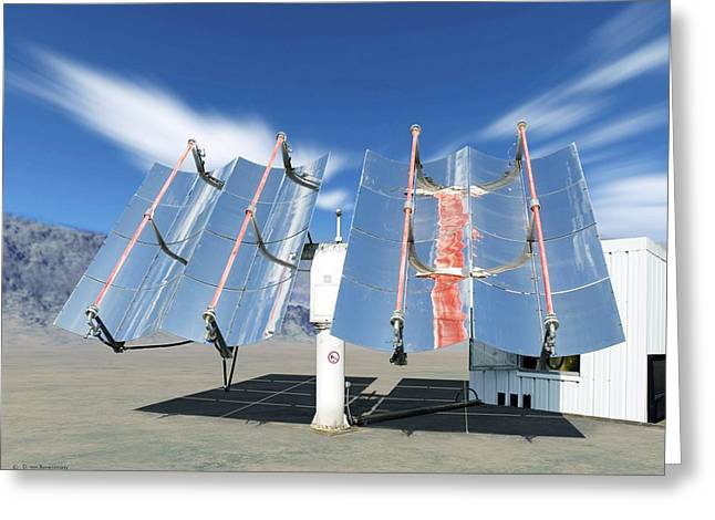 Technical Photographs Greeting Cards - Solar Parabolic Mirrors, Cologne, Germany Greeting Card by Detlev Van Ravenswaay