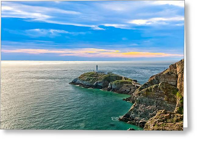 Best Sellers -  - Tidal Photographs Greeting Cards - South Stack Lighthouse Greeting Card by Gary Finnigan