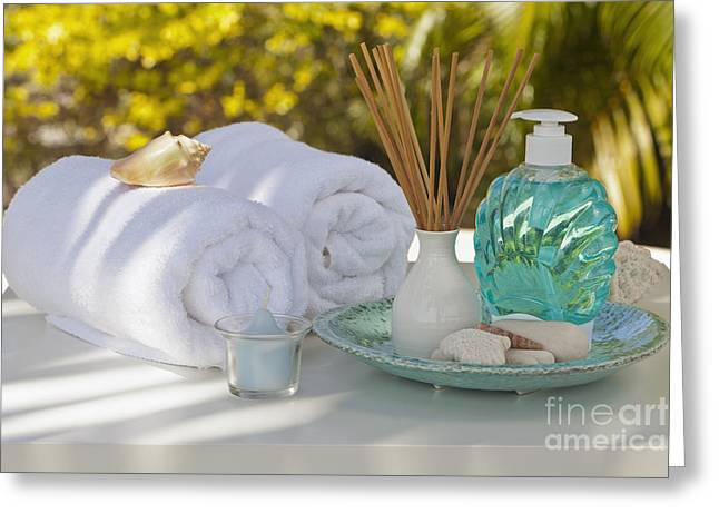 Wellbeing Greeting Cards - Spa Greeting Card by Juan  Silva