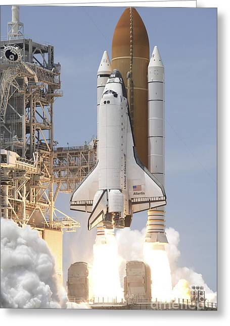 Atlantis Greeting Cards - Space Shuttle Atlantis Twin Solid Greeting Card by Stocktrek Images