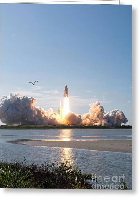 Blastoff Greeting Cards - Space Shuttle Discovery Launch Greeting Card by Stocktrek Images