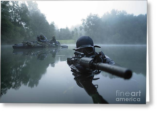 Aiming Greeting Cards - Special Operations Forces Combat Diver Greeting Card by Tom Weber