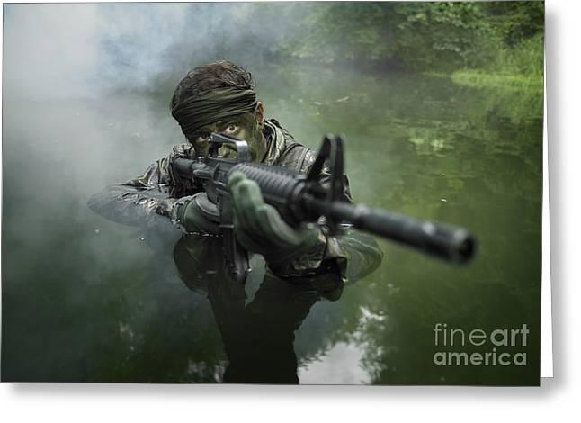 Special Operations Forces Soldier Greeting Card by Tom Weber