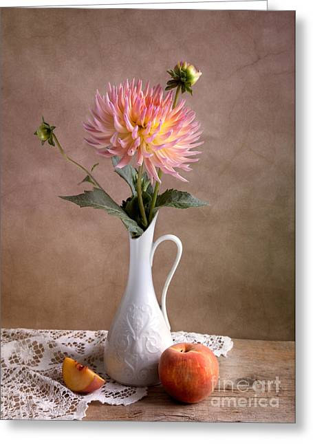 Still Life With Dahila Greeting Card by Nailia Schwarz