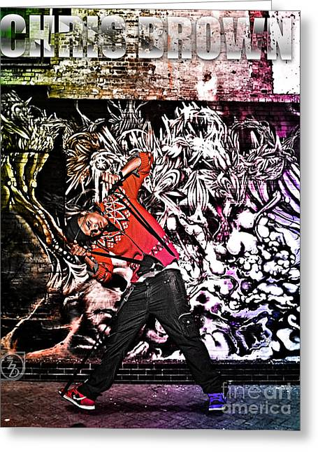 Hip Hop Dance Art Greeting Cards - Street Phenomenon Chris Brown Greeting Card by The DigArtisT