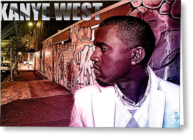 Rhythm And Blues Mixed Media Greeting Cards - Street Phenomenon Kanye West Greeting Card by The DigArtisT