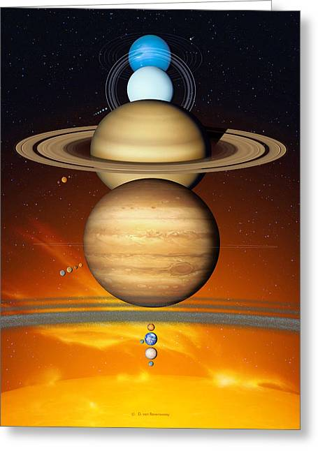 Solar Flare Greeting Cards - Sun And Its Planets Greeting Card by Detlev Van Ravenswaay