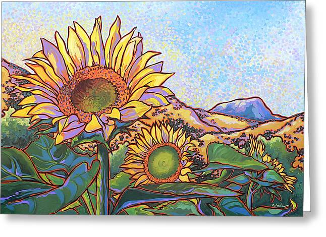 Nadi Spencer Greeting Cards - 3 Sunflowers Greeting Card by Nadi Spencer