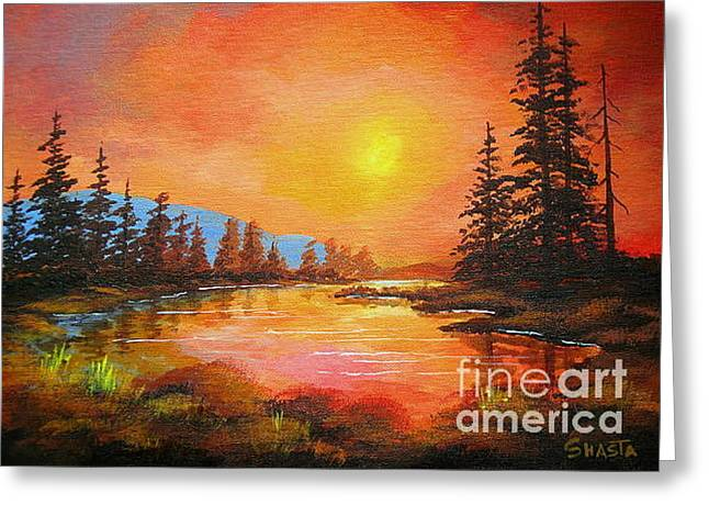 Sunset  Glow Greeting Card by Shasta Eone