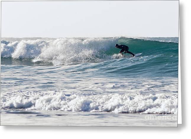 Surfing Photos Greeting Cards - Surfers at Porthtowan Cornwall Greeting Card by Brian Roscorla