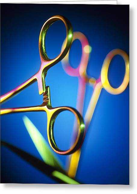 Scissors Greeting Cards - Surgical Equipment Greeting Card by Tek Image