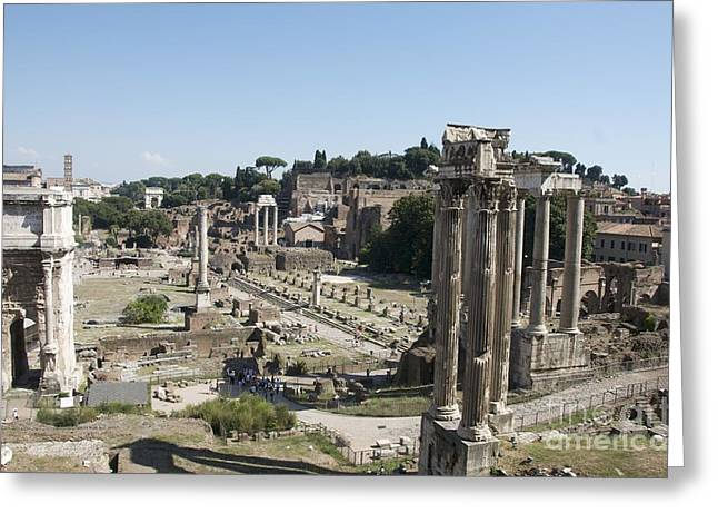 Touristy Greeting Cards - Temple of Saturn in the Forum Romanum. Rome Greeting Card by Bernard Jaubert