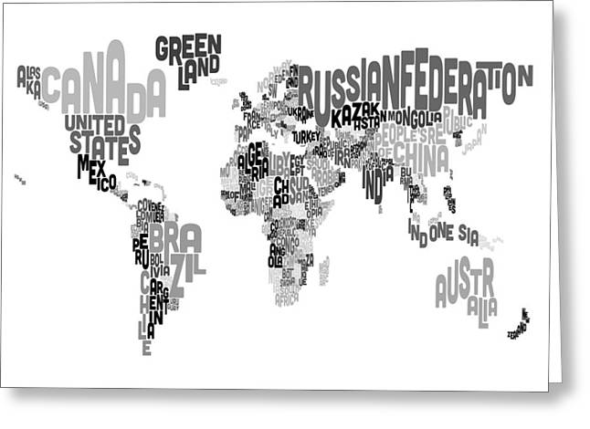 Map Art Greeting Cards - Text Map of the World Greeting Card by Michael Tompsett
