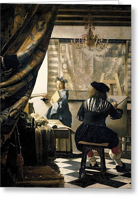 Vermeer Paintings Greeting Cards - The Artists Studio Greeting Card by Jan Vermeer