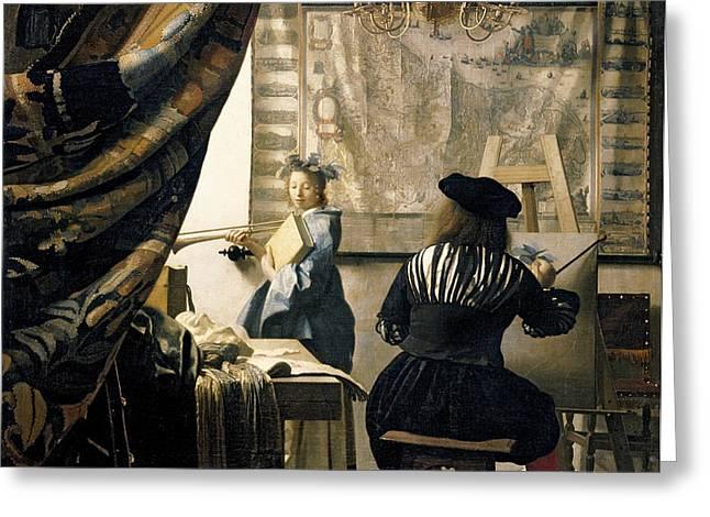 The Artist's Studio Greeting Card by Jan Vermeer