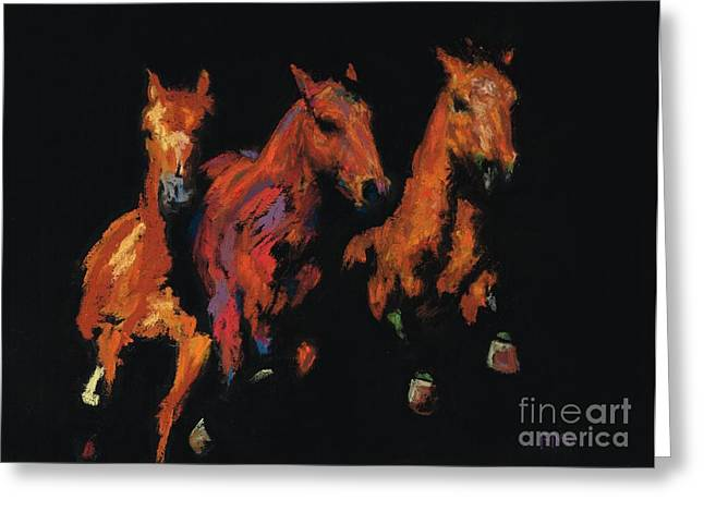 Western Western Art Pastels Greeting Cards - The Competitive Edge Greeting Card by Frances Marino