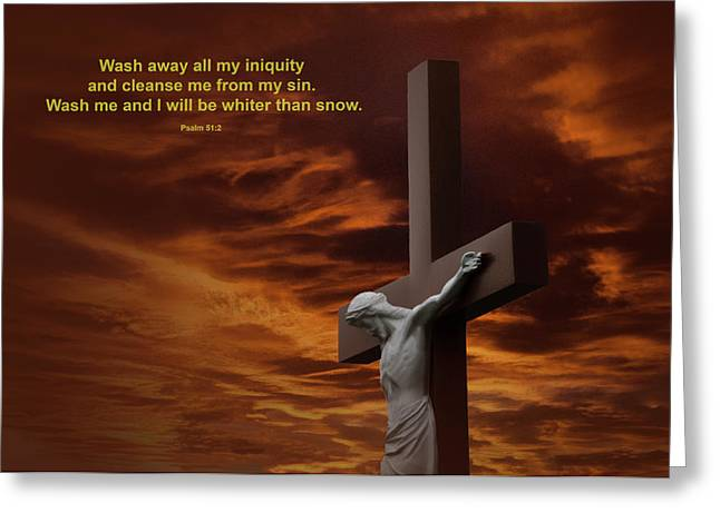 Psalm 51:2 Greeting Cards - The Cross Greeting Card by David Arment