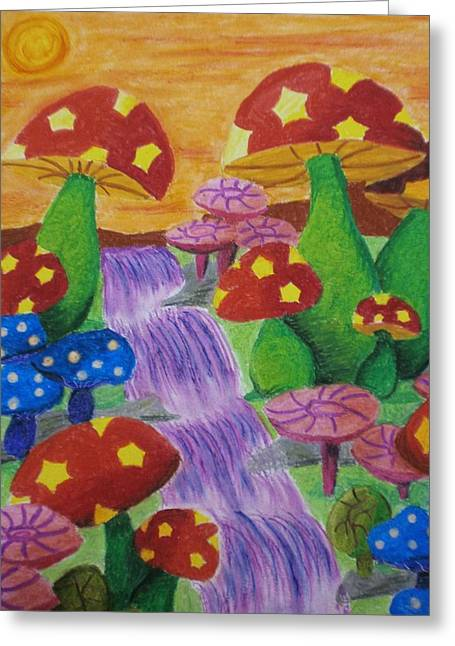 Purple Mushrooms Greeting Cards - The Enchanted Mushroom Forest Greeting Card by Adam Wai Hou
