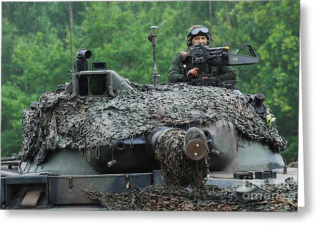 Up-armored Greeting Cards - The Leopard 1a5 Main Battle Tank Greeting Card by Luc De Jaeger