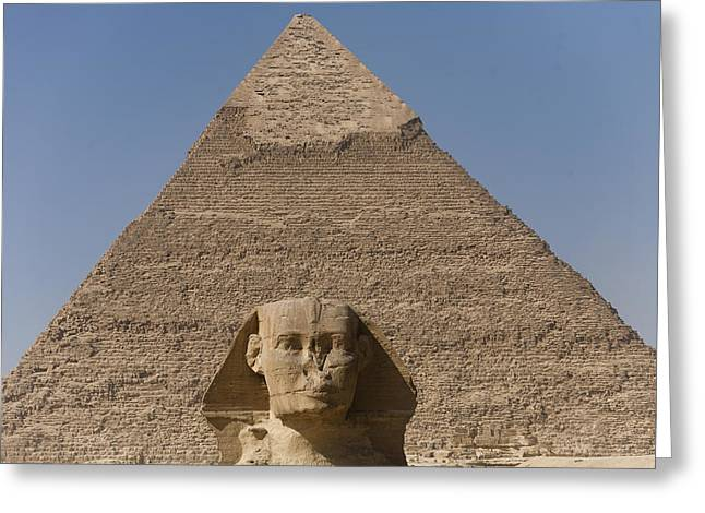 Pharaoh Greeting Cards - The Sphinx Stands In Front Of The Great Greeting Card by Taylor S. Kennedy