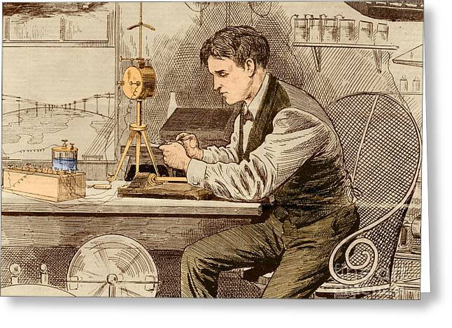 Thomas Edison  Greeting Card by Science Source