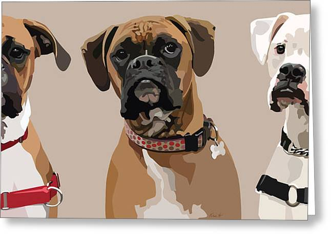 Boxer Digital Greeting Cards - Three Boxers Greeting Card by Kris Hackleman