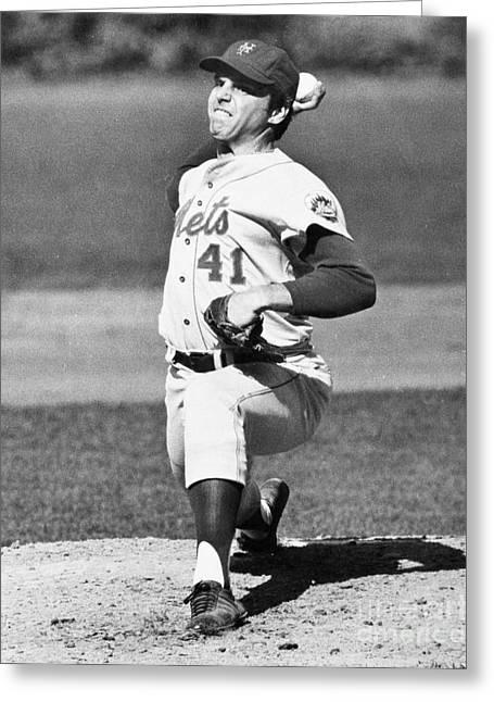 Baseball Cap Greeting Cards - Tom Seaver (1944-) Greeting Card by Granger