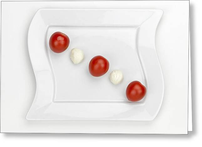 Mozzarella Greeting Cards - Tomato Mozzarella Greeting Card by Joana Kruse