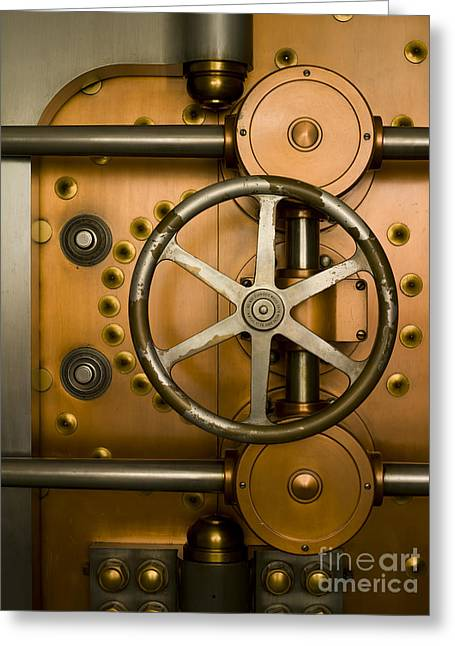 Enterprise Greeting Cards - Tumbler on a Vault Door Greeting Card by Adam Crowley