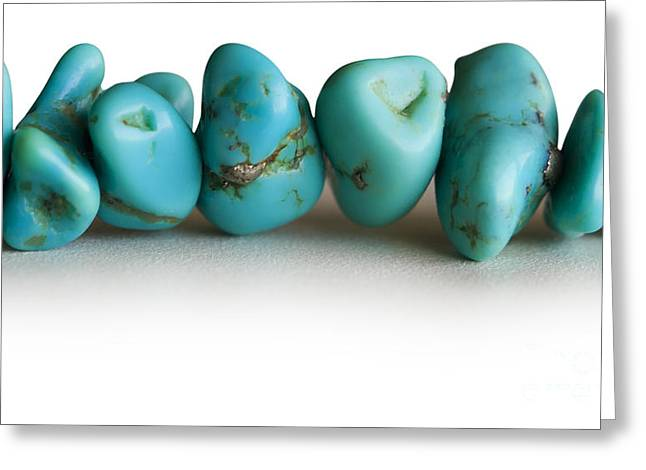 Blue Necklace Greeting Cards - Turquoise stones Greeting Card by Blink Images
