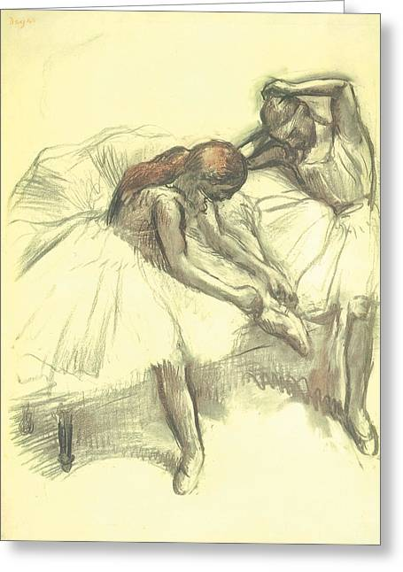 Ballet Dancers Drawings Greeting Cards - Two Dancers Greeting Card by Edgar Degas