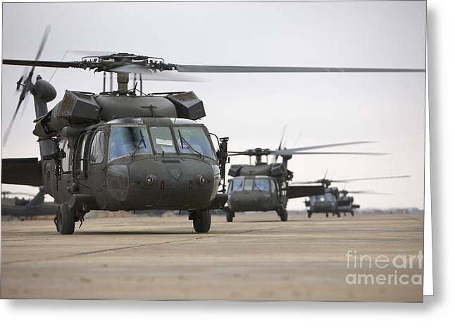 Copy Machine Greeting Cards - Uh-60 Black Hawks Taxis Greeting Card by Terry Moore