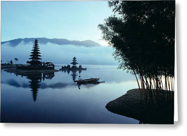 Canoe Waterfall Greeting Cards - Ulu Danu Temple Greeting Card by William Waterfall - Printscapes