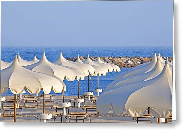 Bathhouse Greeting Cards - Umbrellas in the sun Greeting Card by Joana Kruse