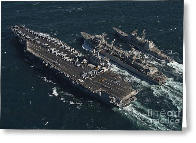 Underway Greeting Cards - Underway Replenishment At Sea With U.s Greeting Card by Stocktrek Images