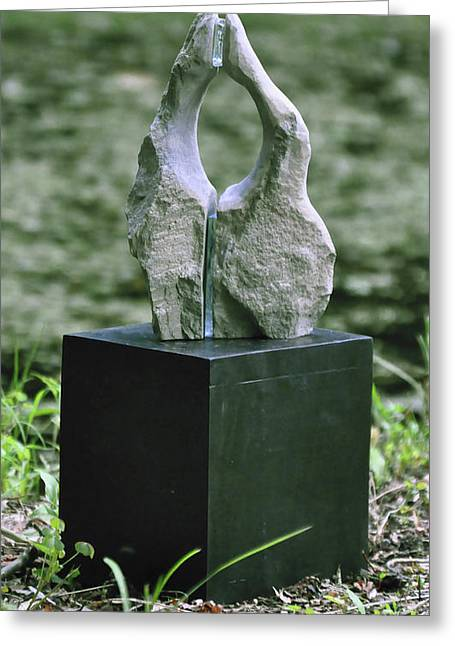Rock Sculptures Greeting Cards - Untitled Rock And Glass Sculpture Greeting Card by Tommy  Urbans