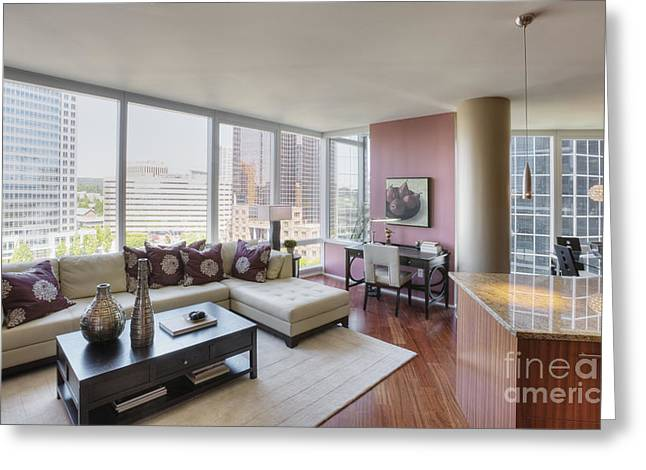 Angled Windows Greeting Cards - Upscale Condo Interior Greeting Card by Andersen Ross