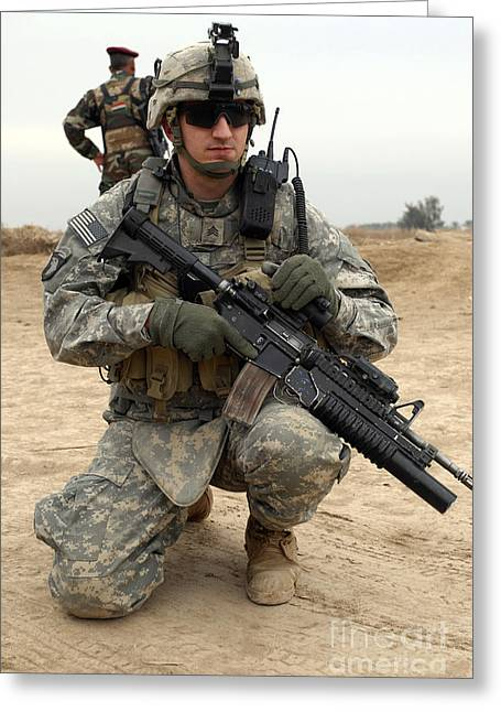 Baghdad Greeting Cards - U.s. Army Sergeant Provides Security Greeting Card by Stocktrek Images