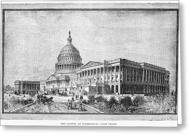 1880s Greeting Cards - U.s. Capitol Greeting Card by Granger