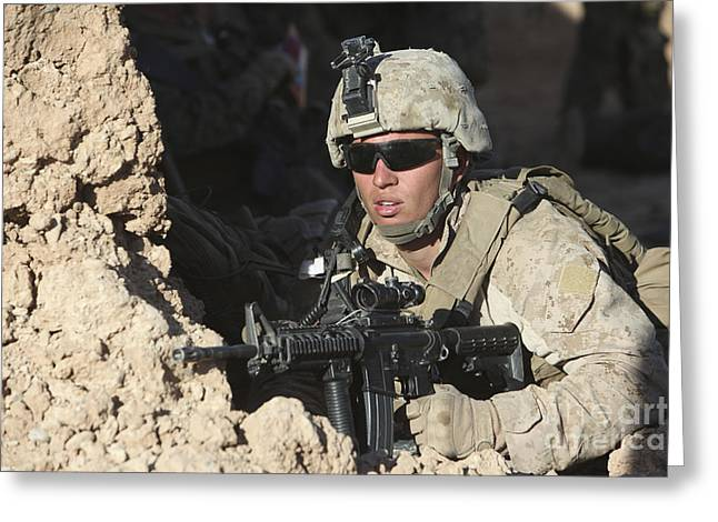 U.s. Marine Provides Security Greeting Card by Stocktrek Images