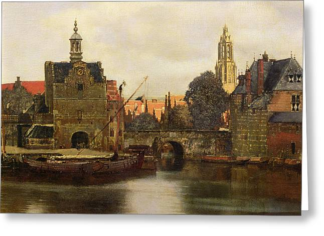Vermeer Paintings Greeting Cards - View of Delft Greeting Card by Jan Vermeer
