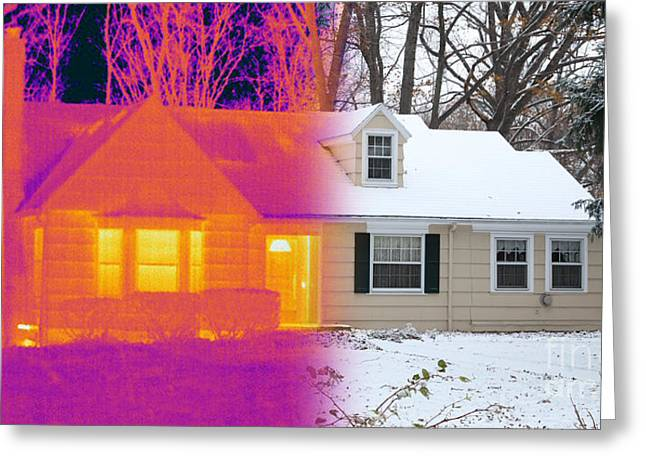 Temperature Greeting Cards - Visible And Infrared Image Of A House Greeting Card by Ted Kinsman