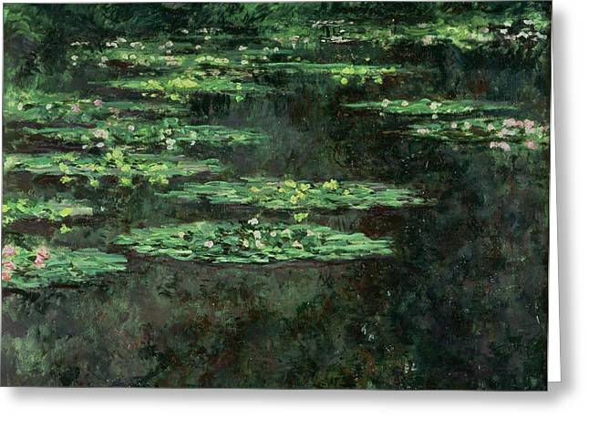 Impressionist Greeting Cards - Waterlilies Greeting Card by Claude Monet