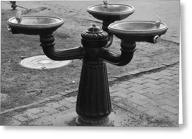 Santa Fe Fountain Greeting Cards - 3 Waters Greeting Card by Rob Hans
