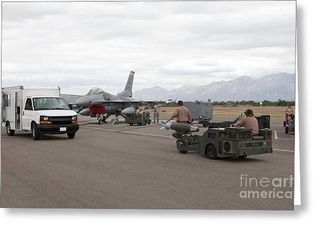 Airbase Greeting Cards - Weapons Loaders Prepare To Load Greeting Card by HIGH-G Productions